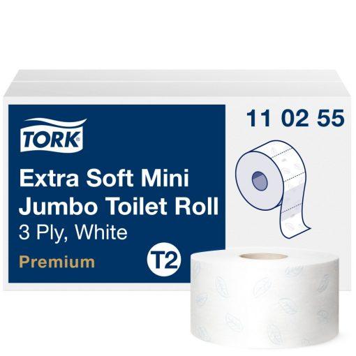 Tork Premium mini jumbo toalettpapír, extra soft T2 3 r, fehér, 12x120m SCA110255