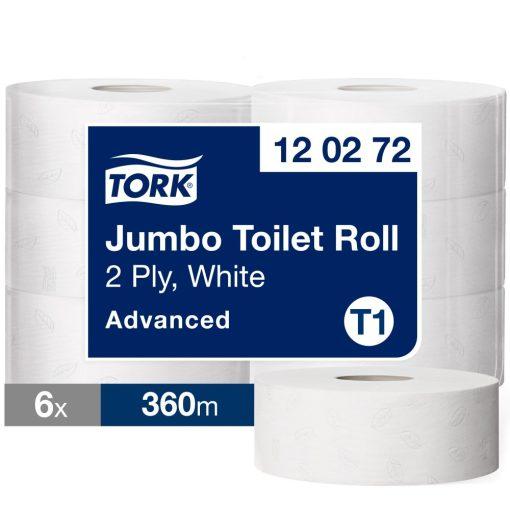 Tork Advanced jumbo toalettpapír T1 2 r, fehér, 6x360m SCA120272