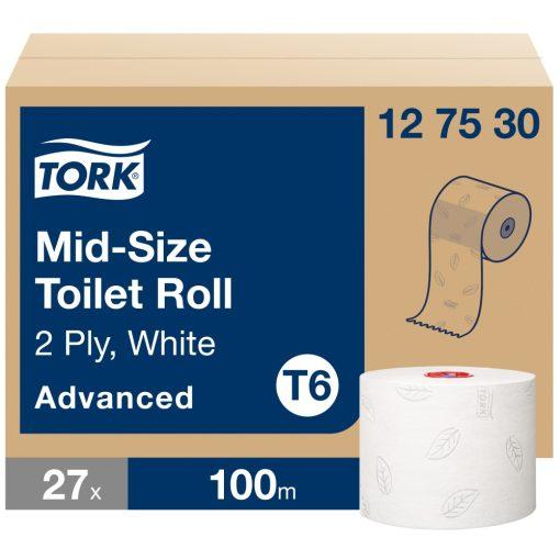 Tork Advanced Mid size toalettpapír tekercs T6 2 r, fehér, 27x100m SCA127530