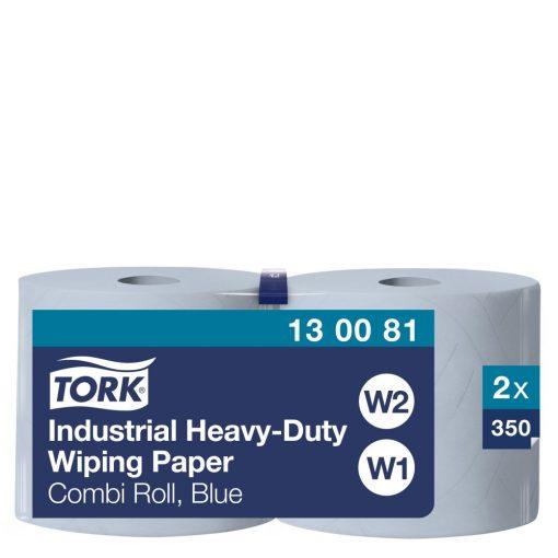 Tork ipari nagyteljesítményű törlőpapír, kombi tekercses W1/W2 3r, kék, 2x119m SCA130081