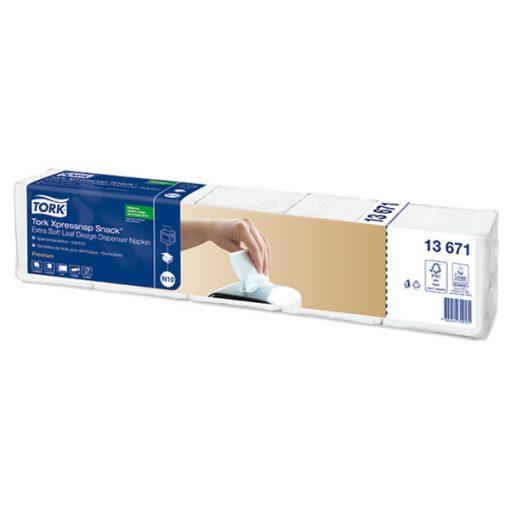Tork Xpressnap Snack Extra Soft Premium adagolós szalvéta N10, 2 r, levélmináts fehér, 21,6x21,6 SCA13671