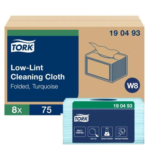 Tork szöszszegény tisztítókendő, kis csomag W8 Premium türkiz, 1 rétegű, 38,5x30 cm SCA190493