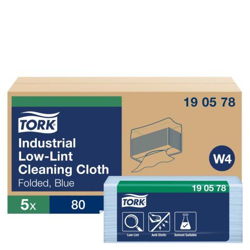 Tork szöszszegény tisztítókendő ipari környezetbe, hajtogatott W4 Premium kék, 1 rétegű, 38,5x40 cm, 80 SCA190578
