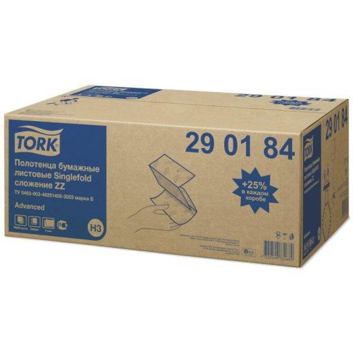 Tork Singlefold kéztörlő, Z-hajtogatott H3 Advanced 2 rétegű, fehér 65%, 23x23 cm, 20x200 lap SCA290184
