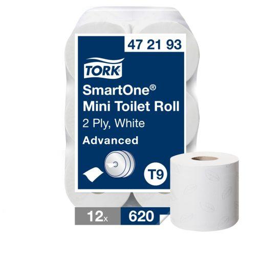 Tork Advanced SmartOne mini toalettpapír T9 2 r, fehér 12x620 lap SCA472193