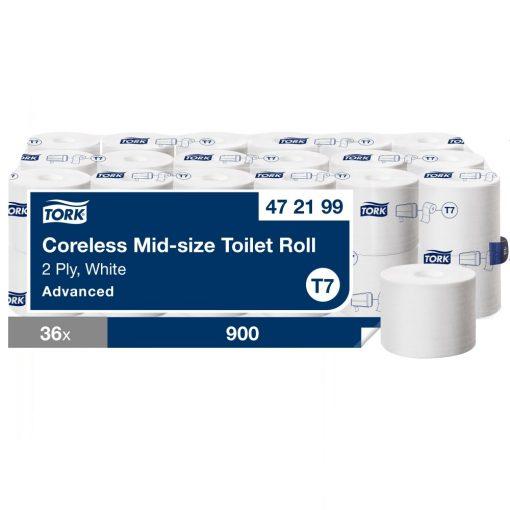 Tork Advanced Mid Size belsőmag nélküli toalettpapír T7 2 r, fehér, 36x900lap SCA472199