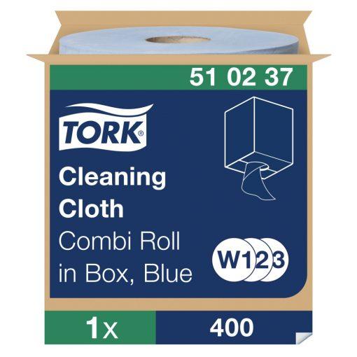 Tork tisztítókendő, dobozos kombi tekercses W1/W2/W3 Premium kék 1 rétegű 32x38 cm, 152 m/400 SCA510237