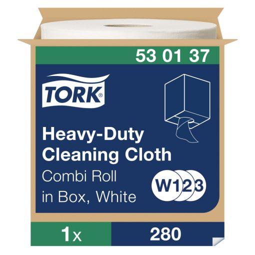Tork nagyteljesítményű tisztítókendő, dobozos kombi tekercses W1/W2/W3 1r, fehér, 1x106 m SCA530137