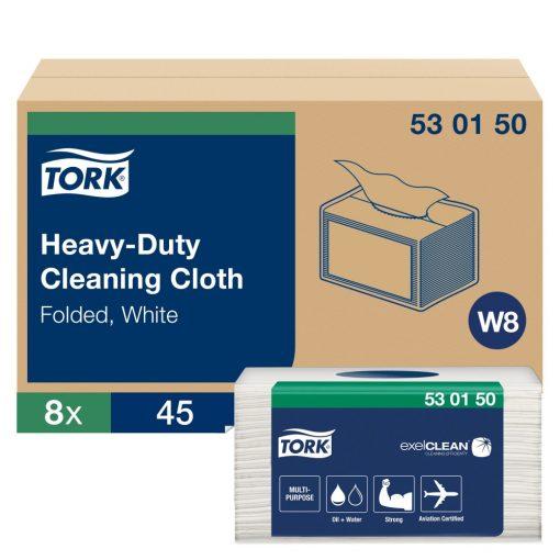 Tork nagyteljesítményű tisztítókendő, hajtogatott- kis csomag W8 1r, fehér, 8x45 lap/cs SCA530150