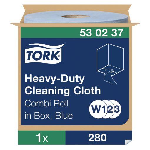 Tork nagyteljesítményű tisztítókendő, dobozos kombi tekercses W1/W2/W3 1r, kék, 1x106 m SCA530237